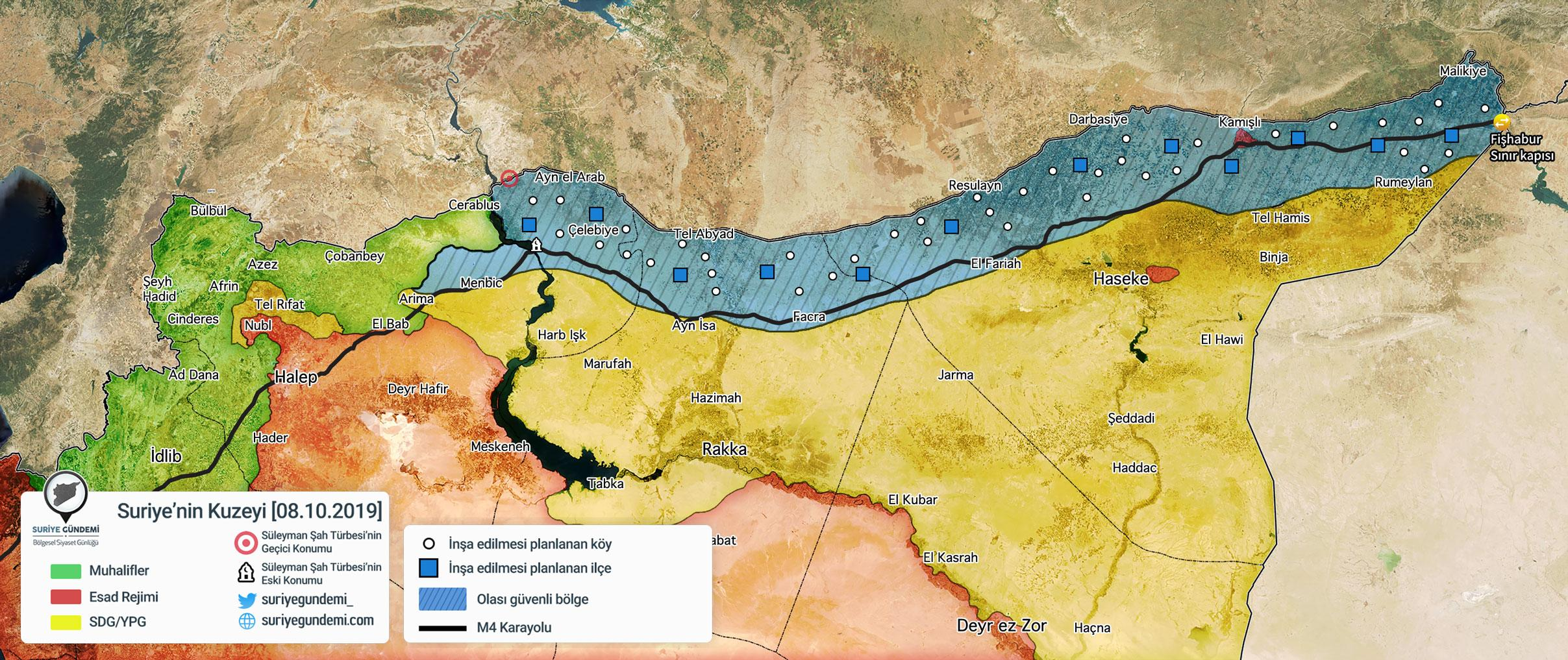 "Turkey-proposed ""safe zone"" (blue). Regime, opposition, and SDF held areas are in red, green and blue, respectively. Source: Suriye Gündemi, Turkey. October 8, 2019."