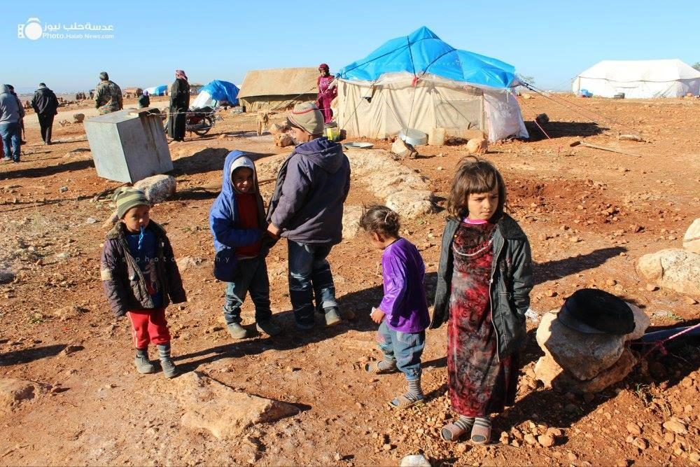 Photo by Abu Taim Al-Halabi, Halab News Photography: IDPs who have fled the bombing. Southern Aleppo Countryside.