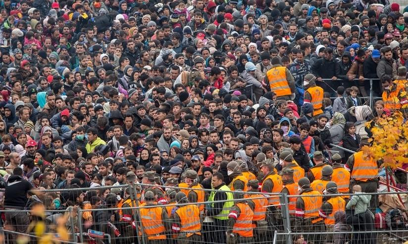 Refugees at the Slovenian/Austrian Border. Late October. Photograph: Maja Hitij/DPA/Corbis